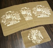 ROMANY GYPSY WASHABLES SET OF 4 MATS/RUGS CREAM/BEIGES NON SLIP BASKET DESIGNS X